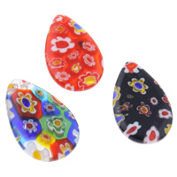 Millefiori Glass Pendants, Teardrop, handmade, mixed colors, 14x23x3mm, Hole:Approx 1mm, Sold By PC