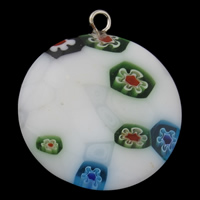 Millefiori Glass Pendants, with Iron, Flat Round, handmade, white, 24x27x5mm, Hole:Approx 2mm, Sold By PC
