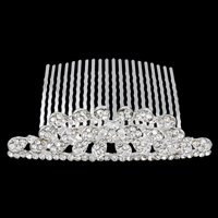 Decorative Hair Combs, Zinc Alloy, with Iron, Flower, silver color plated, with rhinestone, nickel, lead & cadmium free, 91x57x28mm, Sold By PC