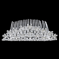 Decorative Hair Combs, Zinc Alloy, with Iron, Flower, silver color plated, with rhinestone, nickel, lead & cadmium free, 110x57x37mm, Sold By PC