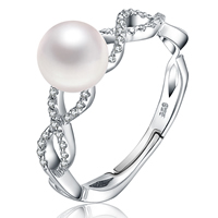 Pearl Sterling Silver Finger Ring, Freshwater Pearl, with 925 Sterling Silver, Round, natural, micro pave cubic zirconia, white, 7-8mm, Size:6.5, Sold By PC