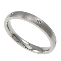 Rhinestone Stainless Steel Finger Ring, 304 Stainless Steel, with rhinestone, original color, 3mm, US Ring Size:7, Sold By PC