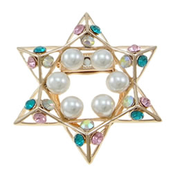 Glass Pearl Brooch