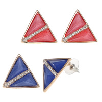 Resin Zinc Alloy Earring, with rubber earnut & Resin, stainless steel post pin, Triangle, real rose gold plated, with rhinestone, more colors for choice, nickel, lead & cadmium free, 25x25x6mm, Sold By Pair