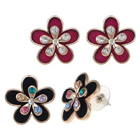 Resin Zinc Alloy Earring, with rubber earnut & Resin, stainless steel post pin, Flower, real rose gold plated, with rhinestone, more colors for choice, nickel, lead & cadmium free, 23x23x6mm, Sold By Pair