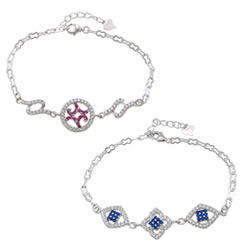 Cubic Zirconia Micro Pave Sterling Silver Bracelet