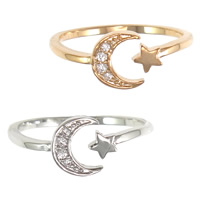 Cubic Zirconia Micro Pave Brass Finger Ring, Moon and Star, plated, different size for choice & micro pave cubic zirconia, more colors for choice, nickel, lead & cadmium free, 7mm, Sold By PC