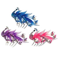 Decorative Hair Combs, Zinc Alloy, with Glass Pearl, Peacock, painted, with rhinestone & colorful powder, mixed colors, nickel, lead & cadmium free, 93x100mm, 30PCs/Bag, Sold By Bag