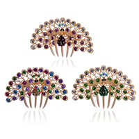 Decorative Hair Combs, Zinc Alloy, Peacock, rose gold color plated, with rhinestone, mixed colors, nickel, lead & cadmium free, 100x45mm, 40PCs/Bag, Sold By Bag