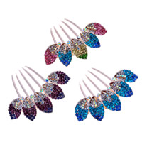 Decorative Hair Combs, Zinc Alloy, Leaf, rose gold color plated, with rhinestone, mixed colors, nickel, lead & cadmium free, 80x85mm, 40PCs/Bag, Sold By Bag