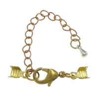 Brass Lobster Claw Clasp, plated, with cord tip, more colors for choice, nickel, lead & cadmium free, 29mm, 7x5x0.4mm, Sold By Set