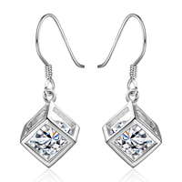 comeon® Jewelry Earring, Brass, Cube, real silver plated, with cubic zirconia, 30x11mm, Sold By Pair