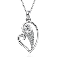 comeon® Jewelry Necklace, Brass, Heart, real silver plated, oval chain & micro pave cubic zirconia, 35x16mm, Length:Approx 18 Inch, Sold By Strand