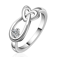 comeon® Finger Ring, Brass, real silver plated, different size for choice & with cubic zirconia, 16x7mm, Sold By PC