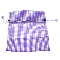 Polyamide Drawstring Pouches, with Organza & Nylon Cord, Rectangle, gingham, purple, 110x140x4mm, Sold By PC