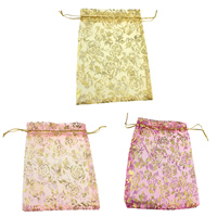 Organza Jewelry Pouches, with Nylon Cord, Rectangle, with flower pattern & gold accent, more colors for choice, 126x180x1mm, Sold By PC