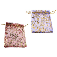 Organza Jewelry Pouches, with Nylon Cord, Rectangle, with flower pattern & gold accent, more colors for choice, 100x115x1mm, Sold By PC