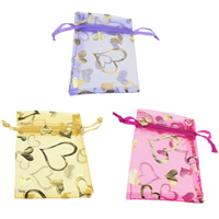 Organza Jewelry Pouches, with Nylon Cord, Rectangle, with heart pattern & gold accent, more colors for choice, 70x93x1mm, Sold By PC