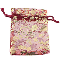 Organza Jewelry Pouches, with Satin Ribbon, Rectangle, with flower pattern & gold accent, deep red, 70x86x1mm, Sold By PC