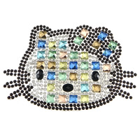 Rhinestone Hot Fix Motif, with Glue Film & Glass, Cat, faceted, 99x64x4mm, Sold By PC