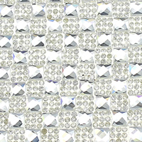 Rhinestone Hot Fix Motif, with Glue Film & Glass, Rectangle, faceted, clear, 390x237x3.5mm, Sold By PC