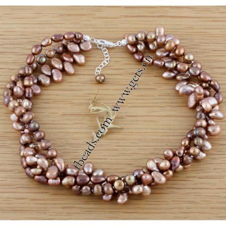 Pulseras de la perla, Perlas cultivadas de agua dulce, 3,aro, 6