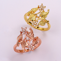 comeon® Finger Ring, Brass, Leaf, plated, different size for choice & with cubic zirconia, more colors for choice, 22mm, Sold By PC