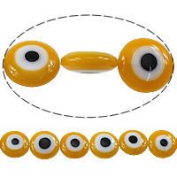 Evil Eye Lampwork Beads, Flat Round, evil eye pattern, orange, 12x12x5mm, Hole:Approx 1mm, Length:Approx 16 Inch, Approx 45PCs/Strand, Sold By Strand
