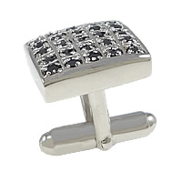 Sterling Silver Cufflinks, 925 Sterling Silver, Rectangle, plated, micro pave cubic zirconia, more colors for choice, 15.5x15mm, 18mm, 18.5x4mm, Sold By PC