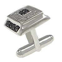 Sterling Silver Cufflinks, 925 Sterling Silver, Rectangle, plated, micro pave cubic zirconia, more colors for choice, 15x13mm, 19mm, 18x4mm, Sold By PC