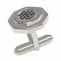 Sterling Silver Cufflinks, 925 Sterling Silver, Polygon, plated, micro pave cubic zirconia, more colors for choice, 15x15mm, 18mm, 18x4mm, Sold By PC