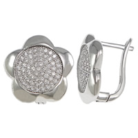 Cubic Zirconia Micro Pave Sterling Silver Earring, 925 Sterling Silver, Flower, plated, micro pave cubic zirconia, more colors for choice, 16x15x12mm, Sold By Pair