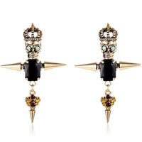 Resin Zinc Alloy Earring, with Resin, stainless steel post pin, antique gold color plated, faceted & with rhinestone, nickel, lead & cadmium free, 44x66mm, Sold By Pair