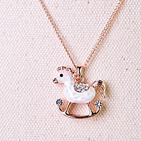 Rhinestone Brass Necklace, with 1.9Inch extender chain, Horse, real rose gold plated, twist oval chain & enamel & with rhinestone, 22x22mm, Length:Approx 15.3 Inch, Sold By Strand