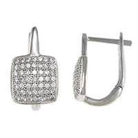 Cubic Zirconia Micro Pave Sterling Silver Earring, 925 Sterling Silver, Square, plated, micro pave cubic zirconia, more colors for choice, 9x16x11mm, Sold By Pair