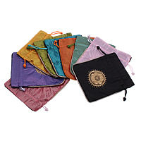 Satin Jewelry Pouches, with Nylon Cord, Rectangle, printing, mixed colors, 129x152x6mm, Sold By PC