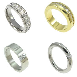 Cubic Zirconia Stainless Steel Finger Ring