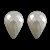 Half Drilled South Sea Shell Beads, Teardrop, faceted & half-drilled, white, 16x22.5mm, Hole:Approx 1mm, Sold By PC