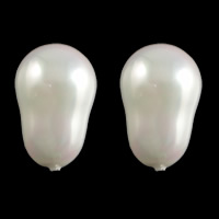 Half Drilled South Sea Shell Beads, Oval, half-drilled, white, 12.5x19mm, Hole:Approx 1mm, Sold By PC
