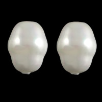 Half Drilled South Sea Shell Beads, Oval, half-drilled, white, 12.5x17mm, Hole:Approx 1.2mm, Sold By PC