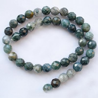 Natural Moss Agate Beads, Round, faceted, 10mm, Hole:Approx 1.2mm, Length:15.5 Inch, Approx 39PCs/Strand, Sold By Strand