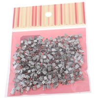 Iron Cord Tips, platinum color plated, nickel, lead & cadmium free, 4x7x4mm, 100x170mm, Hole:Approx 1mm, 500PCs/Bag, Sold By Bag
