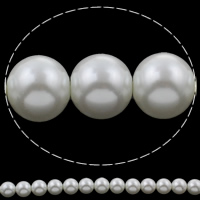 Glass Pearl Beads, Round, white, 12mm, Hole:Approx 1mm, Length:Approx 16 Inch, Approx 34PCs/Strand, Sold By Strand