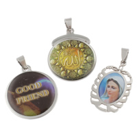 Stainless Steel Pendants, epoxy sticker, mixed, 19x24x3mm-22x40x3mm, Hole:Approx 3.5-7mm, 20PCs/Bag, Sold By Bag