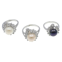 Cultured Freshwater Pearl Finger Ring, Brass, with pearl, Flower, platinum color plated, with cubic zirconia, mixed colors, nickel, lead & cadmium free, 10-11mm, 21x31x17mm, 210x140x33mm, US Ring Size:7.5, 36PCs/Box, Sold By Box