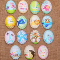 Time Gem Cabochon, Glass, Flat Oval, time gem jewelry & mixed pattern & DIY & different size for choice & flat back & decal, 500PCs/Lot, Sold By Lot