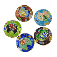 Smooth Cloisonne Beads, Flat Round, handmade, more colors for choice, 19x19x8mm, Hole:Approx 1mm, Sold By PC