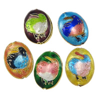 Smooth Cloisonne Beads, Flat Oval, handmade, more colors for choice, 15x20x6.5mm, Hole:Approx 1mm, Sold By PC