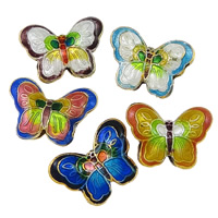 Smooth Cloisonne Beads, Butterfly, handmade, more colors for choice, 23x17x7mm, Hole:Approx 2mm, Sold By PC
