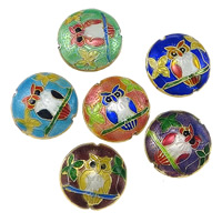 Smooth Cloisonne Beads, Flat Round, handmade, more colors for choice, 19x19x9mm, Hole:Approx 1mm, Sold By PC